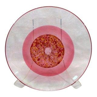 Vintage Arne Jon Jutrem Norway Large Clear Cased Pink Red Speckled Shallow Bowl Plate For Sale