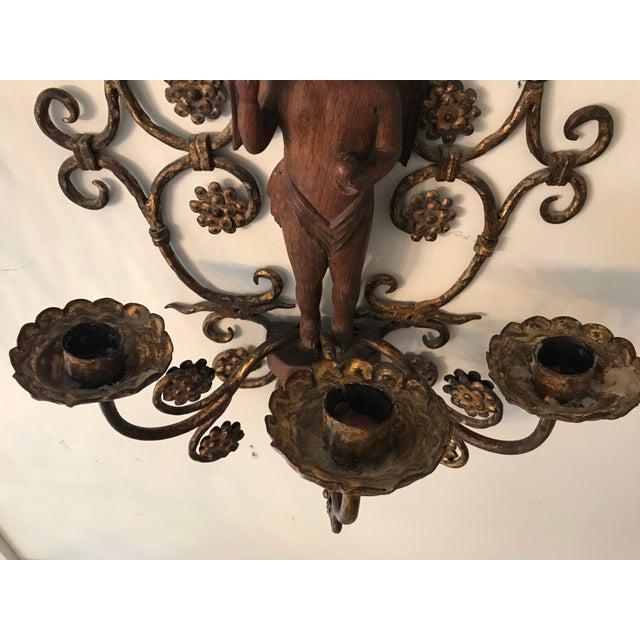 1960s Vintage Rare Italian Iron Sconce, Carved Walnut Cherub For Sale - Image 5 of 6