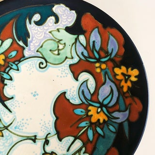 1930s Vintage Dutch Gouda Hand Painted Floral Art Pottery Decorative Plate Preview