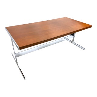 Mid Century Modern Chrome & Teak Trestle Dining Table For Sale