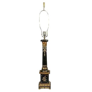 1960s Black & Gilt Italian Florentine Lamp For Sale