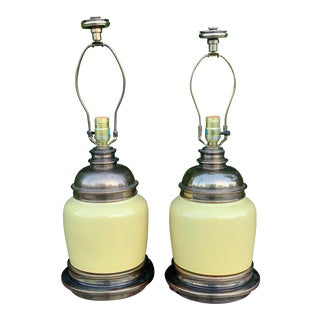 Stiffel Buttery Yellow Lamps - a Pair For Sale