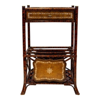 Faux Tortoise Bamboo Side Table For Sale