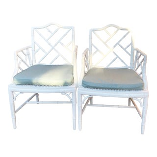 1950s Vintage Chinese Chippendale Arm Chairs- a Pair For Sale