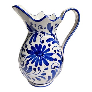 Deruta Style Hand Painted White With Blue Flowers Ceramic Pitcher For Sale