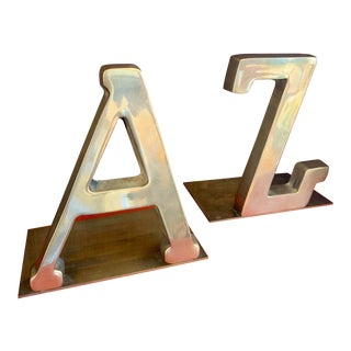 Vintage 1970s a to Z Brass Bookends For Sale