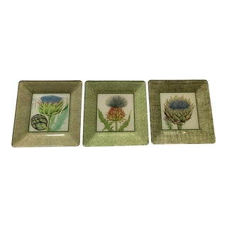 Set of 3 Artichoke Decoupage Decorative Plates For Sale