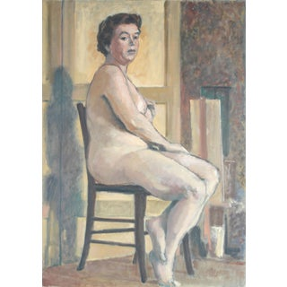 Rip Matteson 1950's Oil Painting of Female Nude Seated For Sale