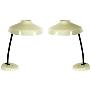 1950s Pair of Orientable Table Lamps, Iron and Lacquered Aluminum - France For Sale