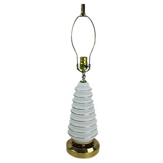 Mid-Century Modern Gold & Glass Beehive Table Lamp For Sale