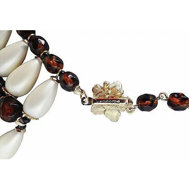 Vendome 1960s Vendome Faux-Pearl Bib Necklace For Sale - Image 4 of 8