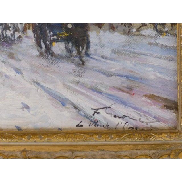Gold 1950s Vintage Francois Gerome Parisian Scene Paintings - A Pair For Sale - Image 8 of 12