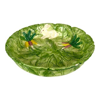 Hand Painted Green Spring Rabbit Bowl For Sale