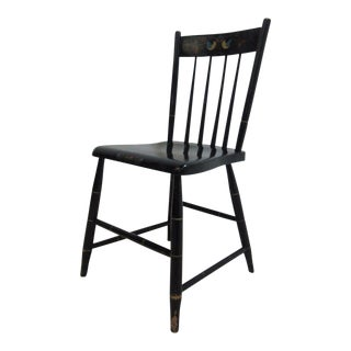 Antique Plank Bottom Paint Decorated Side Chair For Sale
