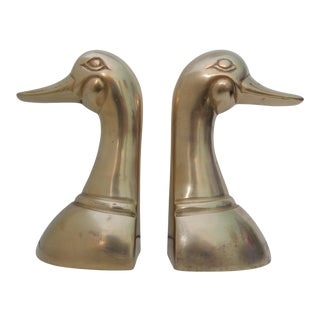 Vintage Brass Duck Bookends - a Pair For Sale