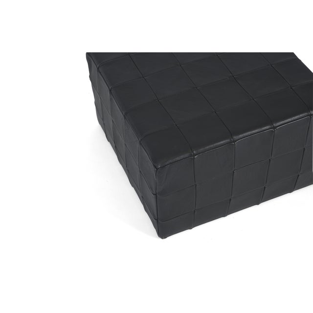 Contemporary De Sede Black Leather Patchwork Cube Ottoman For Sale - Image 3 of 6