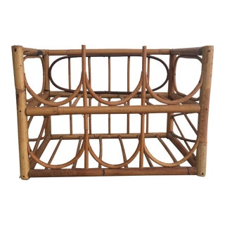 Vintage Boho Chic Bamboo Wine Rack For Sale