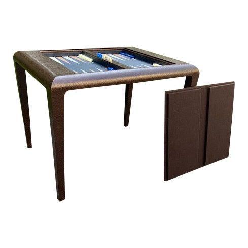 Vintage Karl Springer Grasscloth Covered Backgammon Table For Sale