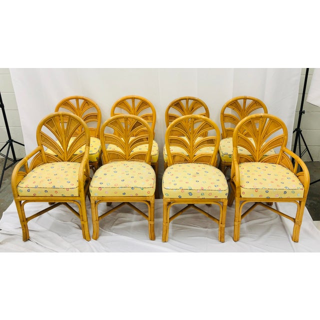 Set of Eight Vintage Bent Rattan Chairs For Sale In Raleigh - Image 6 of 11