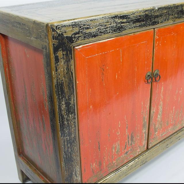 Red & Black Rustic 4-Door Sideboard - Image 3 of 3