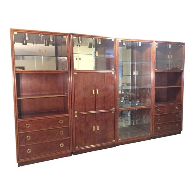 Henredon Campaign Wall Unit W/ Curio Display Cabinets, Bookshelves ...