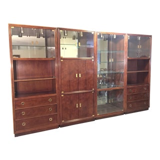 Henredon Campaign Wall Unit W/ Curio Display Cabinets, Bookshelves and Dual Door Cabinet - 4 Piece Set For Sale