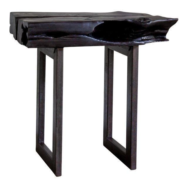 Asian Modern Yakisugi Wood and Metal Side End Table For Sale
