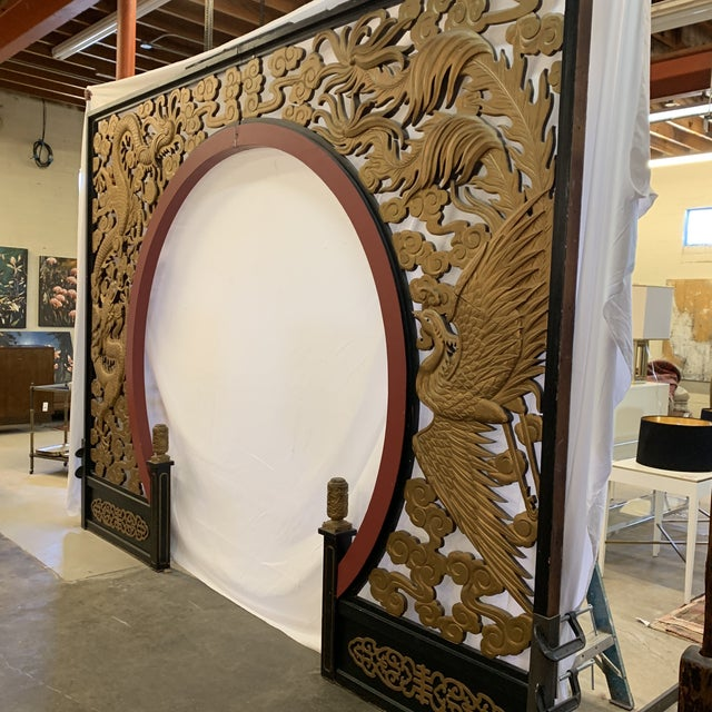 Asian Room Size Wood Carved Chinese Moon Gate For Sale - Image 3 of 13