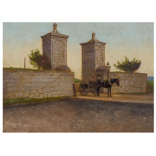 """The City Gate, St. Augustine, Florida 1893"" Antique Oil Painting After John Stoddard For Sale"