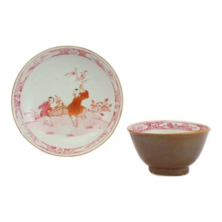18th Century Batavia Ware Cafe au Lait Chinese Porcelain Cup & Saucer #1 - Set of 2 For Sale