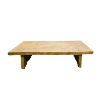 French Antique Reclaimed Oak Wood Coffee Table Rare Upcycled Barnwood For Sale