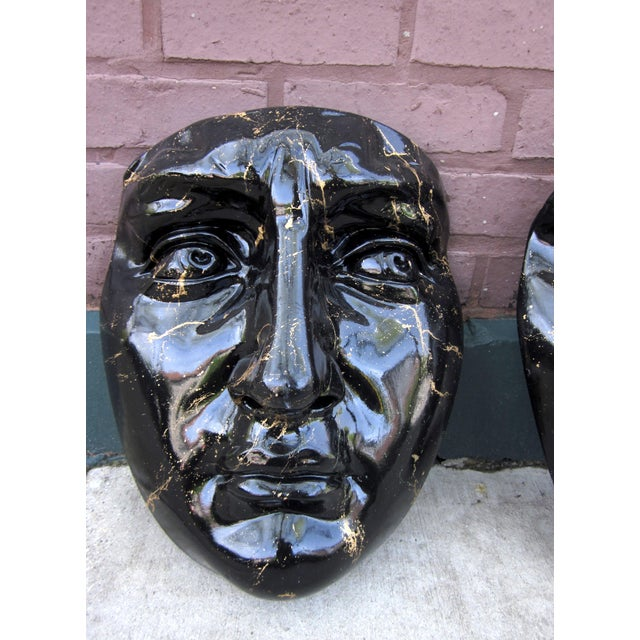 Late 20th Century Late 20th Century Black and Gold Splatter Paint Plaster Face Mask Wall Sculptures - a Pair Fornasetti Style For Sale - Image 5 of 11