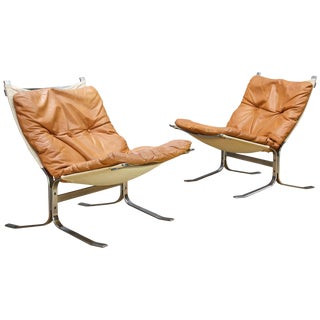 1960s Ingmar Relling Steel Leather Sling Siesta Chairs Westnofa Møbelfabrikk For Sale