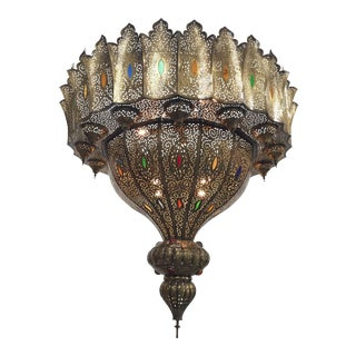 Moroccan Moorish Oversized Brass Chandelier For Sale