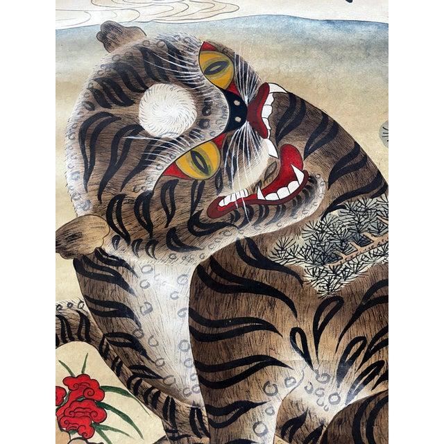 Brown Korean Jakhodo Minhwa Folk Scroll Painting For Sale - Image 8 of 11