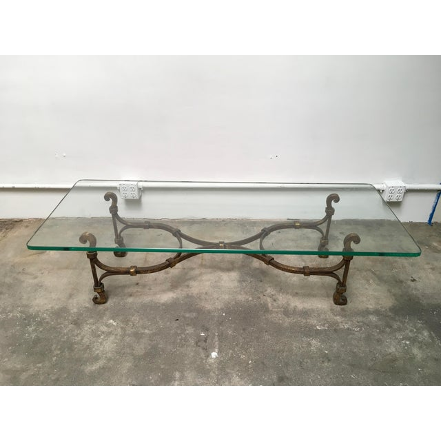 Hollywood Regency Gilded Iron & Glass Coffee Table Attributed to Arturo Pani For Sale - Image 3 of 11