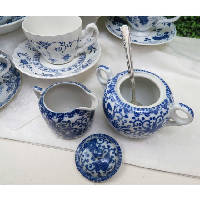 Late 20th Century Vintage Mismatched Ironstone China Tea Set, Service for 8 For Sale - Image 5 of 12