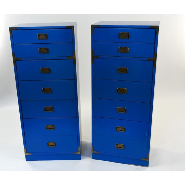 Mid Century Campaign Style Blue Tall Chests of Drawers-a Pair For Sale - Image 13 of 13