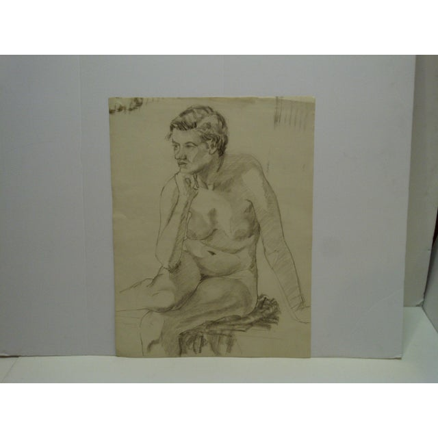 """This is an Original Sketch / Drawing on Paper that is titled """"Nude In Deep Thought"""" by Tom Sturges Jr. The Drawing is in..."""