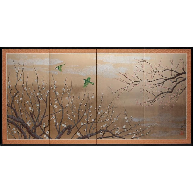 1970s Gold Leaf and Silk Japanese Shōwa Era Byobu Screen With Green Birds and Sakura For Sale - Image 12 of 12