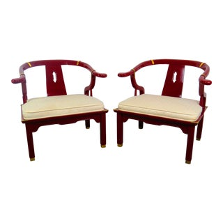 1970s Vintage Century Furniture Red Lacquer Ming Horseshoe Chairs - a Pair For Sale
