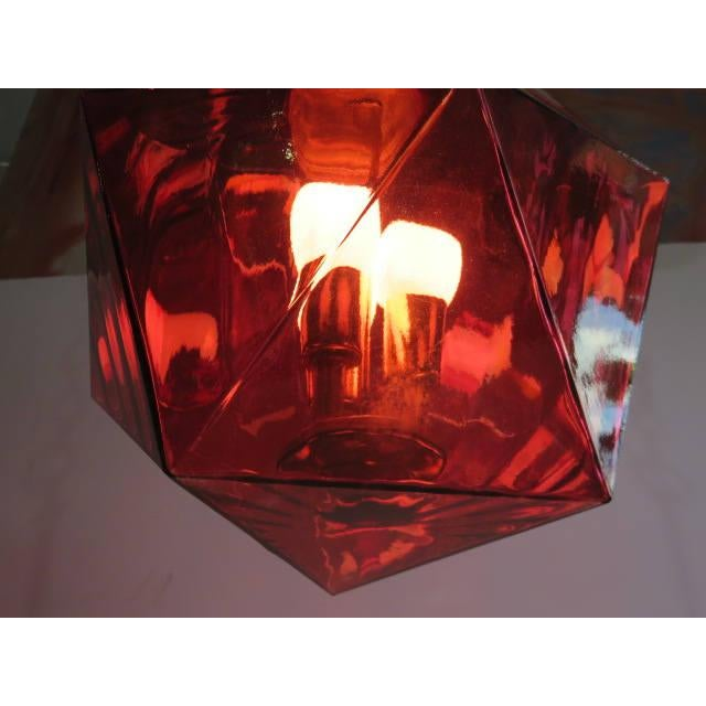 Geodesic Cranberry Colored Light Pendant Mid Century Modern For Sale - Image 10 of 11