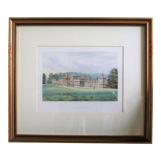 "1880 Antique English Estate ""Wentworth Woodhouse"" Print Matted and Framed For Sale"