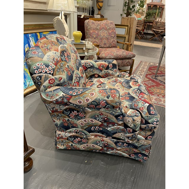 1990s Vintage Patterned Club Chair For Sale - Image 4 of 11