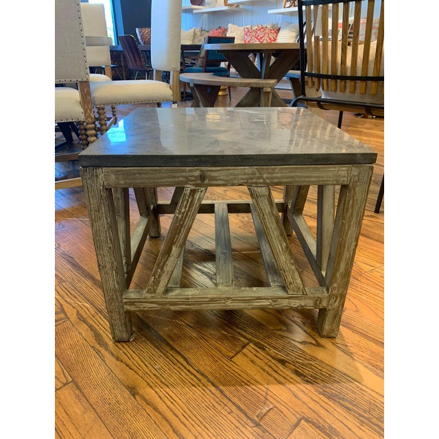 Old Fir and Bluestone Side Table For Sale - Image 4 of 4