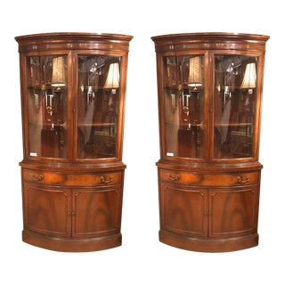 Pair of Georgian Style Mahogany Two-Door Bow Front Corner Cabinets