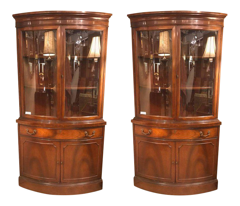 Pair Of Georgian Style Mahogany Two Door Bow Front Corner Cabinets