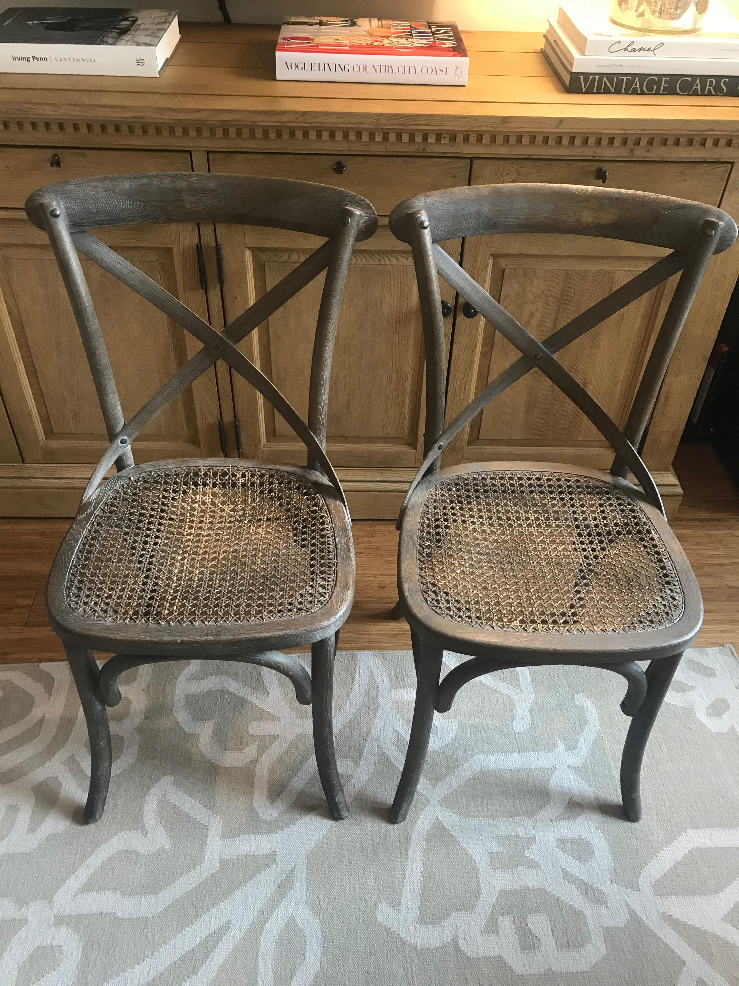 Charming Brown Restoration Hardware Madeleine Side Chairs   A Pair For Sale   Image  8 Of 8