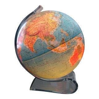 Vintage 1970s Lucite World Globe