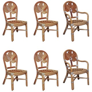 Mid Century Rattan Dining Chairs - Set of 6